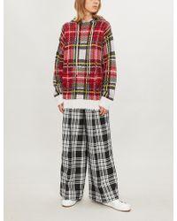 SERENA BUTE LONDON Side-striped Checked Woven Trousers - Multicolour
