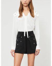 Maje Bermuda Nature-embroidered Crepe Shorts - Black