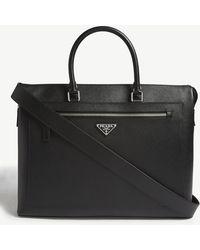 Lyst - Prada Saffiano Logo Briefcase With Shoulder Strap in Gray for Men 5979bade51c50