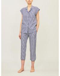 Three J Nyc Poppy Checked Cotton Pyjamas Set - Blue