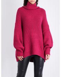 Free People Swim Too Deep Turtleneck Cotton-blend Sweater - Pink