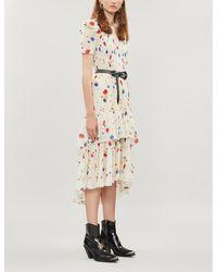The Kooples Ruffle-tiered Floral Silk-devoré Dress - Multicolour