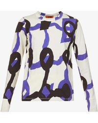 Colville Graphic-print Cotton-jersey Top - Blue