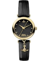 Vivienne Westwood - Vv108bkbk Stainless Steel And Leather Watch - Lyst