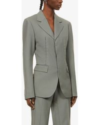 Dion Lee Single-breasted Wool Jacket - Gray