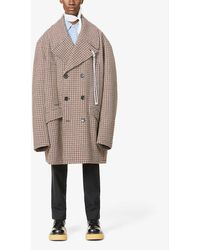 Raf Simons Archive Redux Caban Check-print Woven Coat - Brown