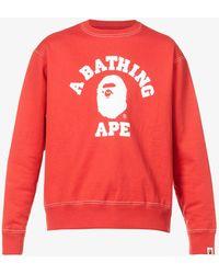 A Bathing Ape Logo-print Cotton-jersey Sweatshirt - Red