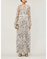 Needle & Thread Lilacs Garland Floral-print Ruffled Tulle Gown - Multicolour