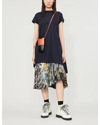 Sacai - Embroidered-trim Cotton-jersey Mini Dress - Lyst