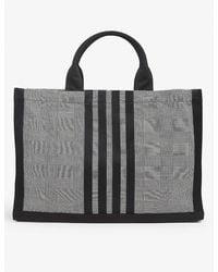 Thom Browne Checked Cotton-canvas Tote - Black