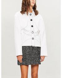 Miu Miu - Herringbone-patterned Wool-blend Skirt - Lyst
