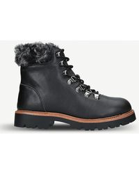 KG by Kurt Geiger Tyrone Faux-fur Trimmed Leather Hiking Boots - Black