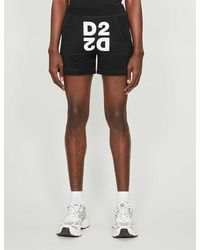 DSquared² Logo-print Cotton-jersey Shorts - Black