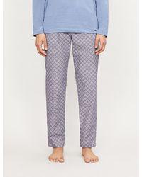 Hanro Geometric-print Cotton Pyjama Bottoms - Gray