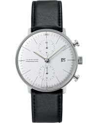 Junghans - 027/4600.00 Max Bill Chronoscope Stainless Steel And Leather Watch - Lyst