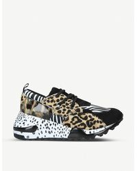 Steve Madden Cliff Animal-print Leather Trainers - Black
