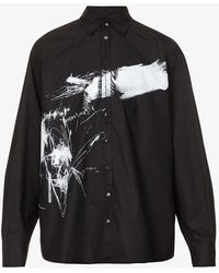 Isabel Benenato Graphic-print Oversized Cotton Shirt - Black