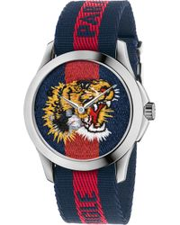 Gucci - Le Marche Des Merveilles Tiger Stainless Steel & Striped Nylon Strap Watch - Lyst