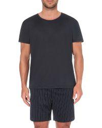 La Perla Crewneck Silk And Cotton-blend T-shirt - Blue