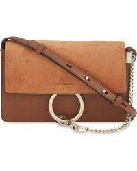 Chloé - Faye Small Leather And Suede Clutch - Lyst