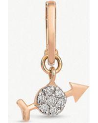 The Alkemistry - Kismet By Milka Saggitarius 14ct Rose-gold And White Diamond Single Hoop Earring - Lyst