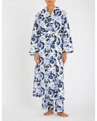 YOLKE Papavere Cotton Dressing Gown - Blue