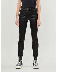 PAIGE Edgemont Skinny Mid-rise Leather Jeans - Black