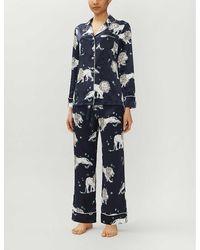 Olivia Von Halle Lila Nefertiti Classic Silk Pyjama Set - Blue