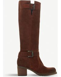 Dune Tansey Faux Fur-lined Knee-high Suede Boots - Brown
