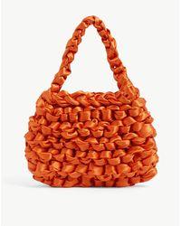 Miista Theodore Knotted Satin Mini Tote Bag - Orange