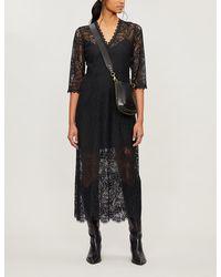 Claudie Pierlot Scalloped Floral-lace Dress - Black