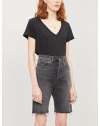 PAIGE Zaya V-neck Cotton And Modal-blend T-shirt - Black