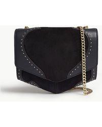 a8405220d641 Sandro Lou Leather Shoulder Bag in Black - Lyst