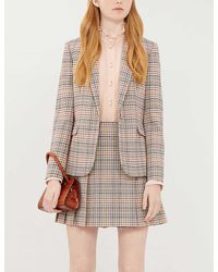 Claudie Pierlot Sirene Checked Pleated Woven Mini Skirt - Multicolour