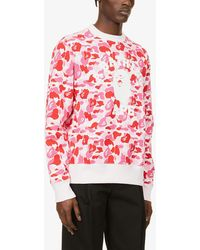 A Bathing Ape Collegiate Camo-print Cotton-jersey Sweatshirt - Pink