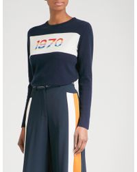 Bella Freud 1970 Rainbow Cashmere-blend Jumper - Blue