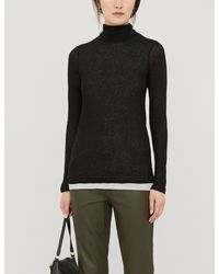 The White Company Roll Neck Layered Stretch-jersey Top - Black