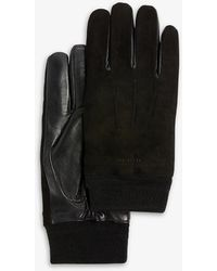 Ted Baker Sofie Suede And Leather Gloves - Black