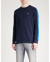 True Religion - Side-stripe Cotton-blend Jersey Jumper - Lyst