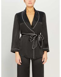 Agent Provocateur Classic Silk Pajama Top - Black