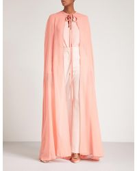 Elie Saab Semi-sheer Silk Cape - Pink