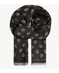 Alexander McQueen Skull Print Wool-silk Scarf - Black