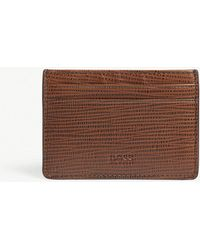 BOSS - Medium Brown Textured Leather Money Clip Card Holder - Lyst