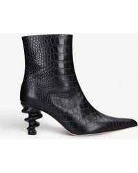 Kalda Island 70 Snake-embossed Leather Ankle Boots - Black