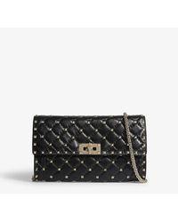 Valentino Garavani Ladies Black Leather Rockstud Quilted Cross-body Bag