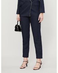 Zadig & Voltaire Porta Embellished-trim Pinstriped Slim-fit Woven Trousers - Blue