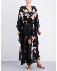 Meng Floral-print Silk-chiffon Robe - Black
