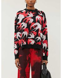 McQ Swallow-print Cotton-knit Sweater - Red