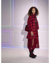 Dior Abstract-pattern Semi-sheer Midi Skirt - Red
