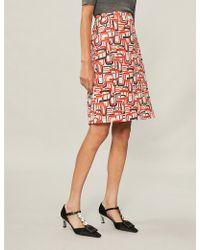 Prada - Retro-print Cotton-poplin Skirt - Lyst